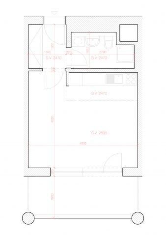 Prodej, byt 1+kk, 27,45 m 2 + lodžie, ul. Paťanka, Praha 6 - Dejvice